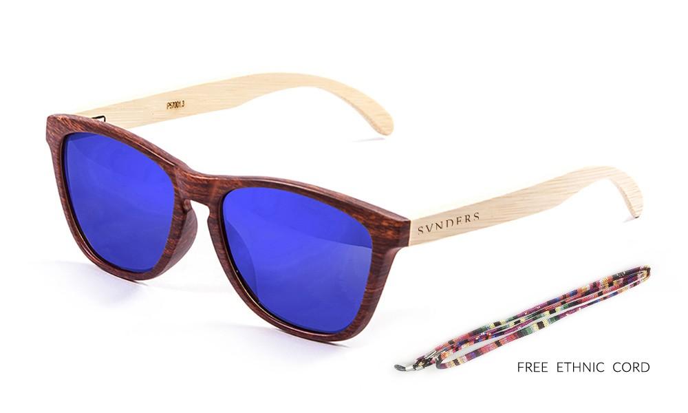 AMERICA gafas de sol de madera de bambú lente azul pequeña