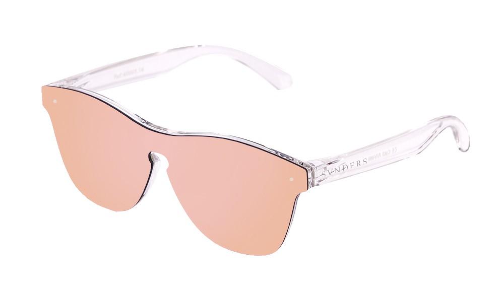Gafas de sol SUNPERS modelo San Francisco montura de policarbonato blanco mate transparente lente rosa frontal
