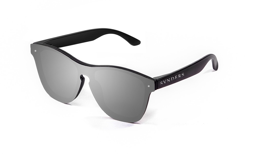 Matte black frame with silver mirrow flat lens