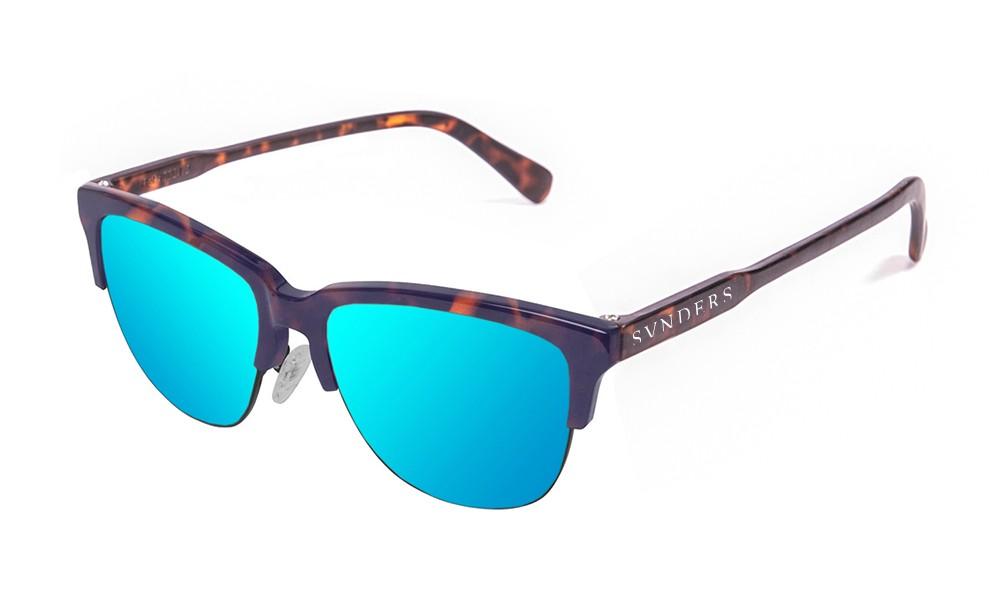 Gafas de sol sumpers San Francisco clubmaster montura carey mate lente azul cielo espejo
