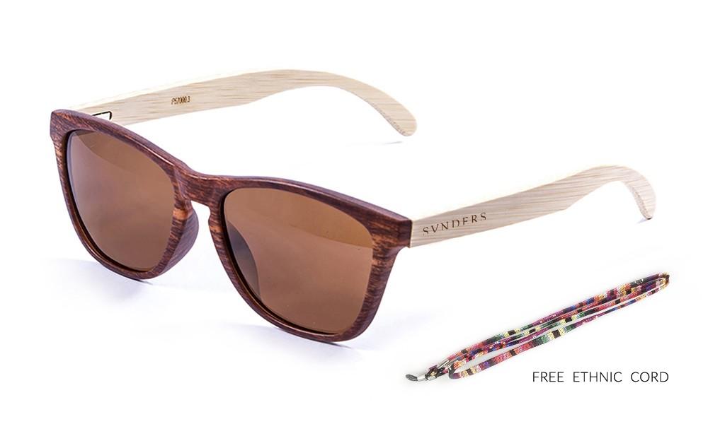 AMERICA gafas de sol de madera de bambú lente marrón pequeña