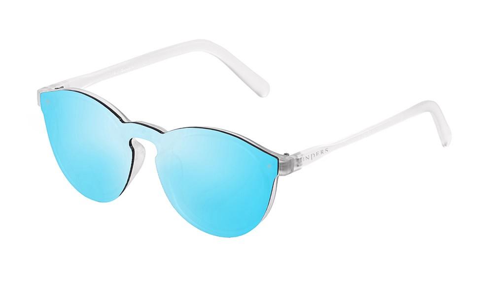 Biarritz - Lente plana  / revo / blanco mate transparente - azul cielo espejo