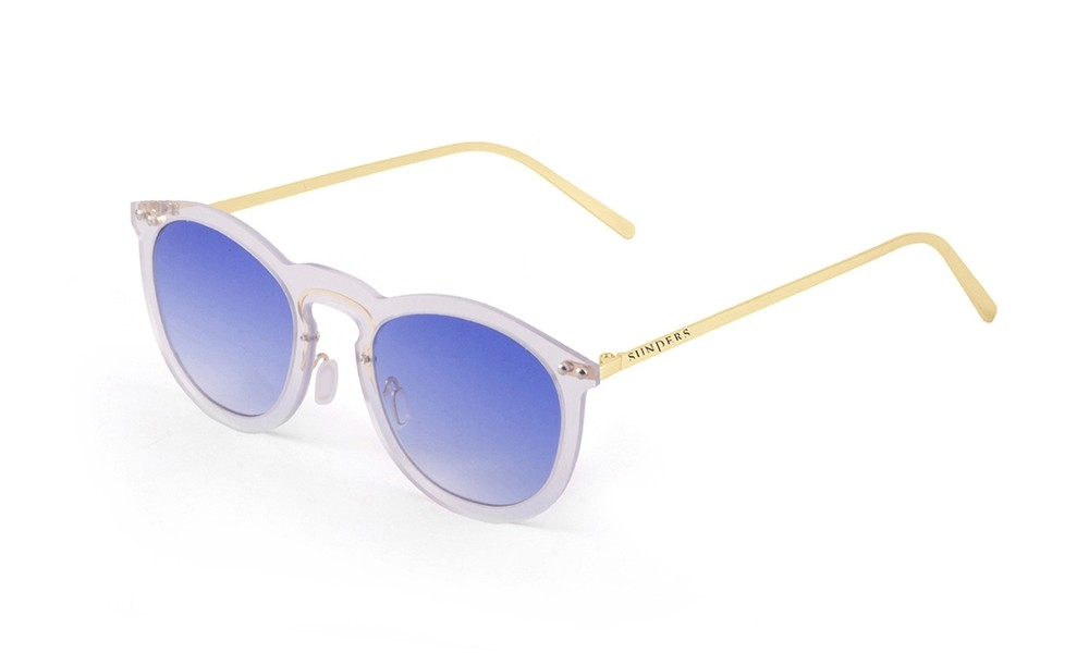 Space flat revo sky blue lens with metal gold temple