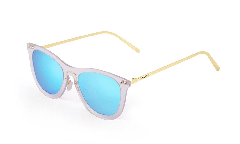 Sunglasses - transparent white/ metal gold temple | SUNPERS