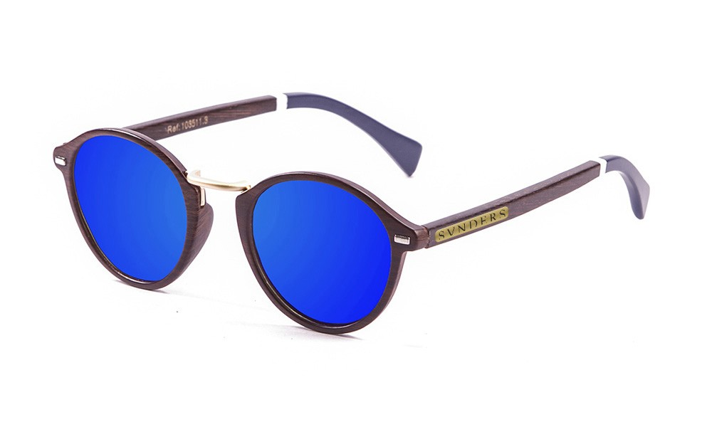bamboo brown, brown, revo blue lens with white/blue dark arm