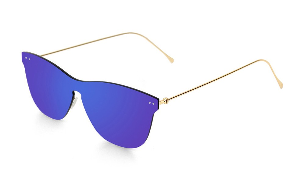 Space flat dark revo blue lens with metal gold temple
