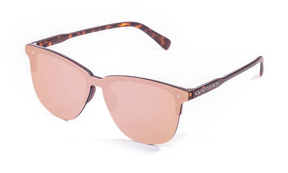 Gafas de sol sunpers flat clubmaster lente rosa espejo frame carey mate