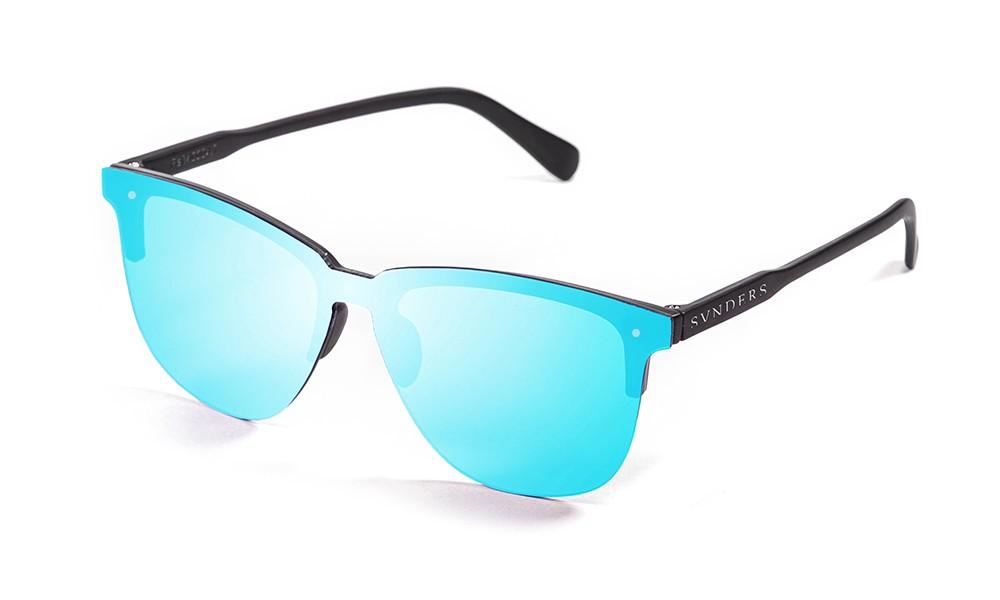 Gafas de sol sunpers flat clubmaster lente azul cielo espejo frame negro mate