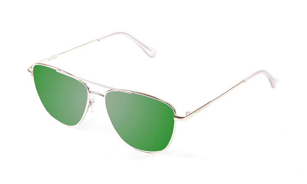 gafas de sol sunpers sunglasses modelo san francisco aviador montura metal dorado lente plana verde