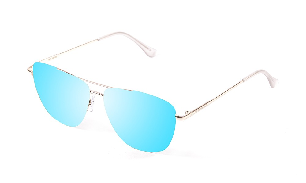 shiny gold metal frame with blue revo flat lens