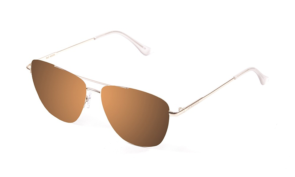shiny gold metal frame with brown flat lens