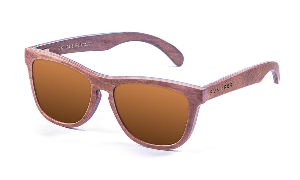 San Francisco gafas de sol de madera de skate marrón pequeña
