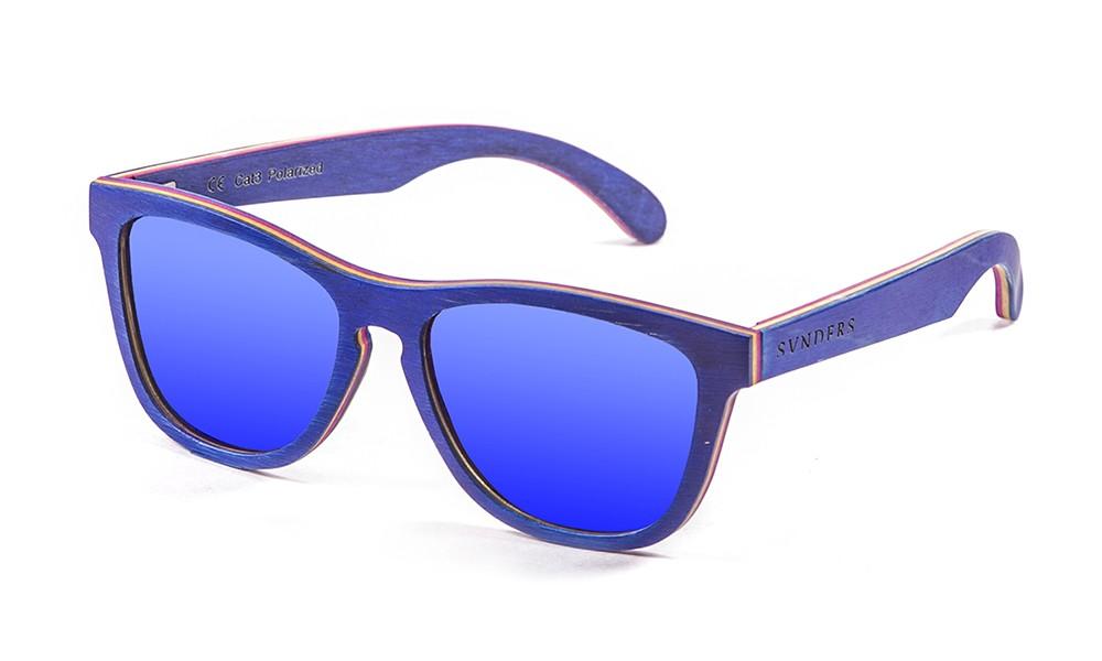 San Francisco gafas de sol de madera de skate azul pequeña