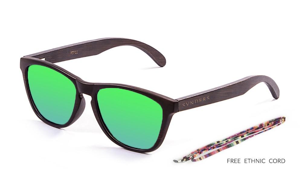 SAN FRANCISCO gafas de sol de madera de bambú lente verde pequeña