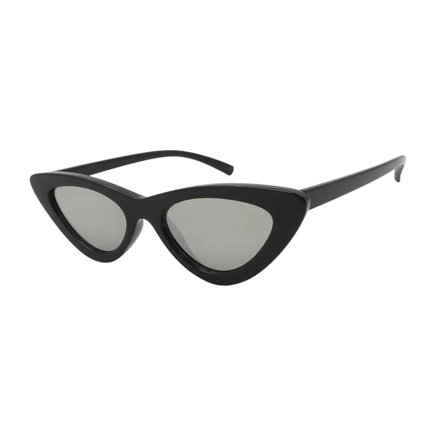 LOLITA SHAPE POLYCARBONATE SHINY BLACK SILVER MIRROR LENS
