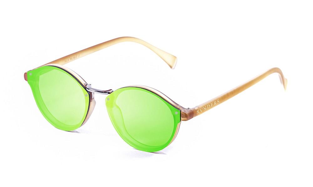 Biarritz - Metal lente plana / mate marrón suave / verde espejo