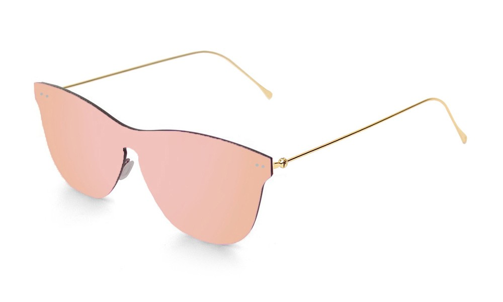 Space flat pink lens with metal gold temple