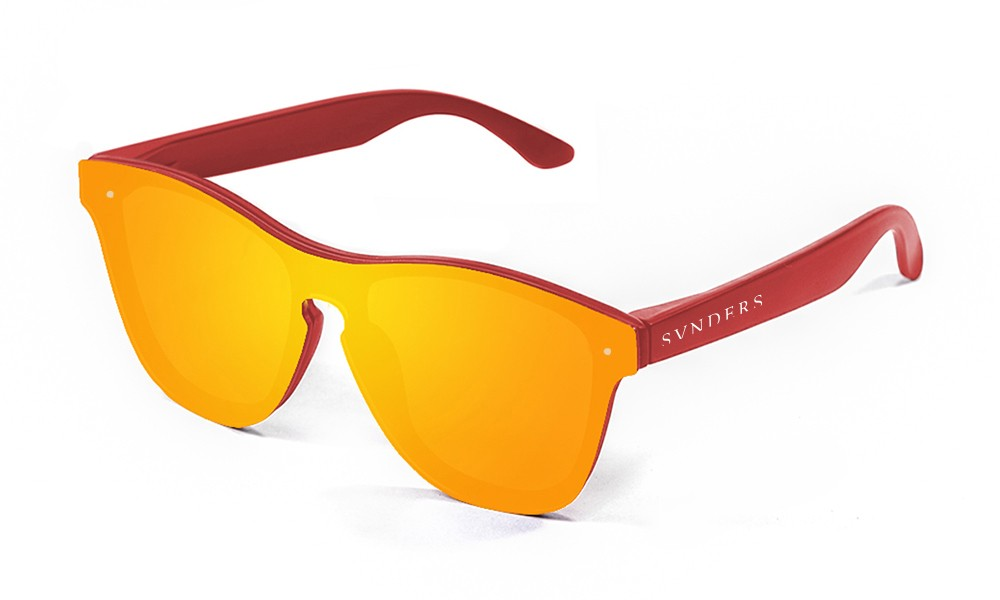 Gafas de sol SUNPERS modelo San Francisco montura de policarbonato rojo mate lente roja frontal