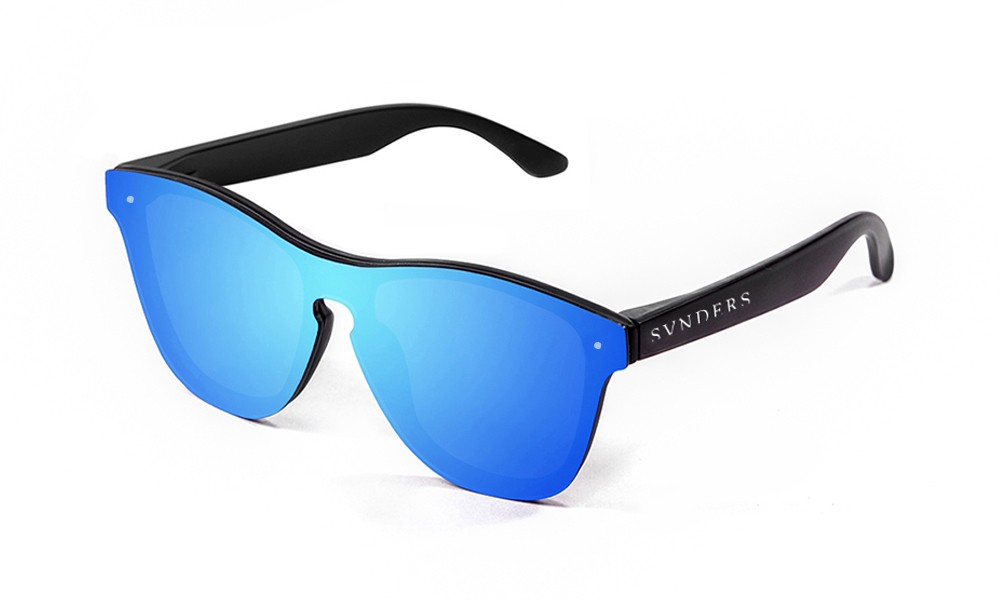 Matte black frame with blue mirror flat lens
