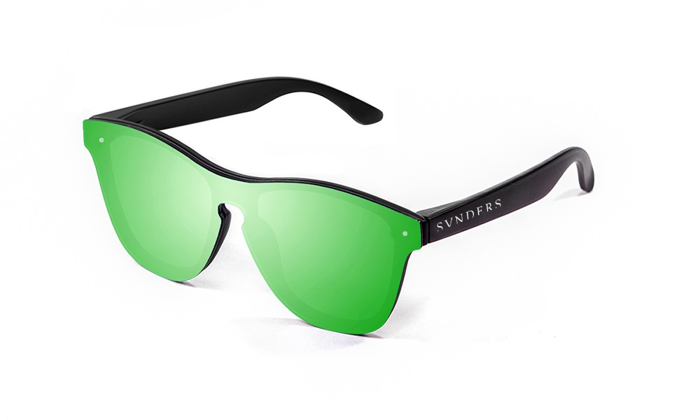 Matte black frame with green mirror flat lens