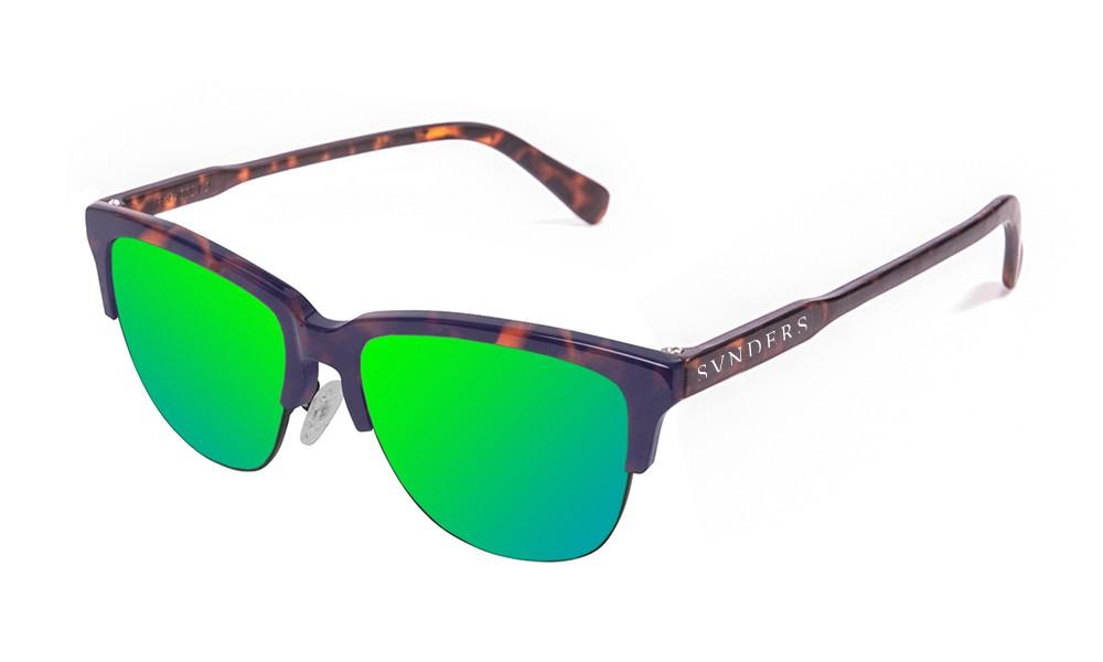 Gafas de sol sumpers San Francisco clubmaster montura carey mate lente verde espejo