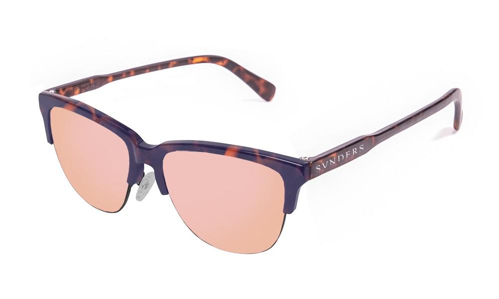 Gafas de sol sunpers San Francisco clubmaster montura carey mate lente rosa espejo