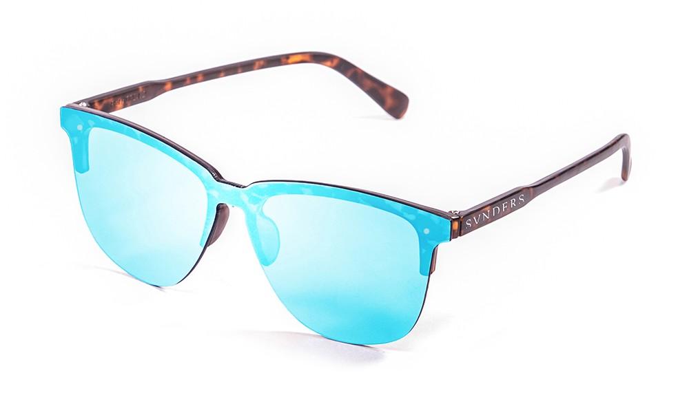 San Francisco - Lente plana clubmaster / revo / carey mate / azul cielo (gafas)