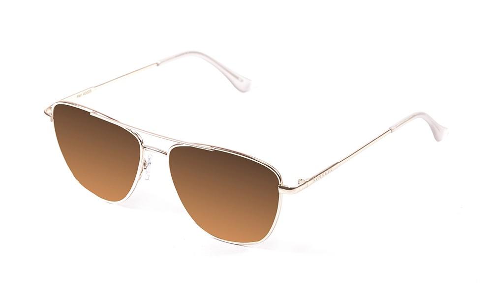 gafas de sol sunpers sunglasses modelo san francisco aviador montura metal dorado lente marrón gradiente