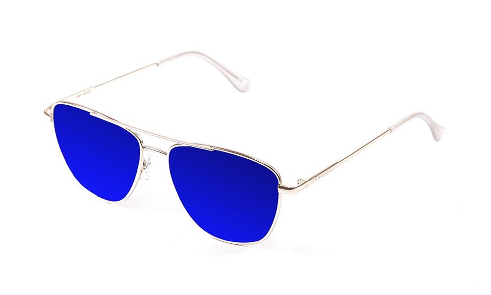 gafas de sol sunpers sunglasses modelo san francisco aviador montura metal dorado lente azul oscuro