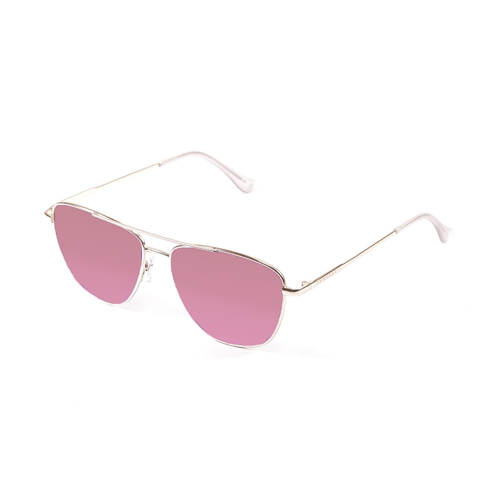 gafas de sol sunpers sunglasses modelo san francisco aviador montura metal dorado lente rosa