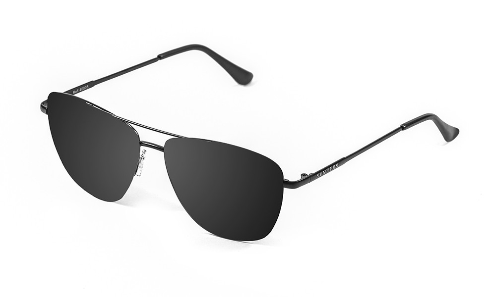 Matte black metal frame with smoke flat lens