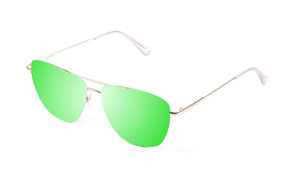 shiny gold metal frame with green revo flat lens