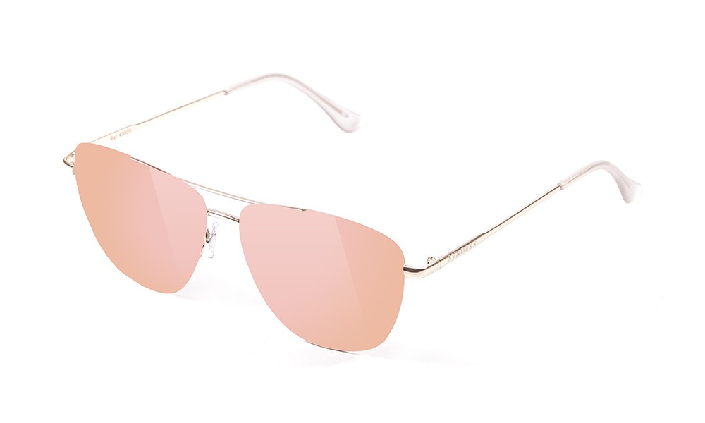 shiny gold metal frame with pink revo flat lens
