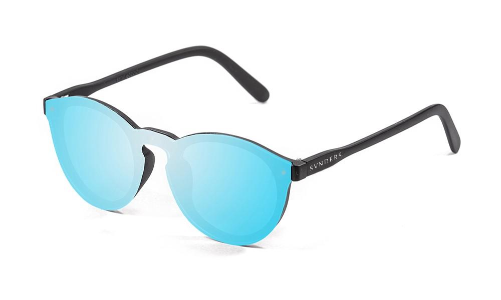 Gafas de sol SUNPERS modelo Biarritz SU75000 montura negro mate lente plana azul cielo espejo