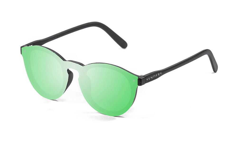 Gafas de sol SUNPERS modelo Biarritz SU75000 montura negro mate lente plana verde espejo