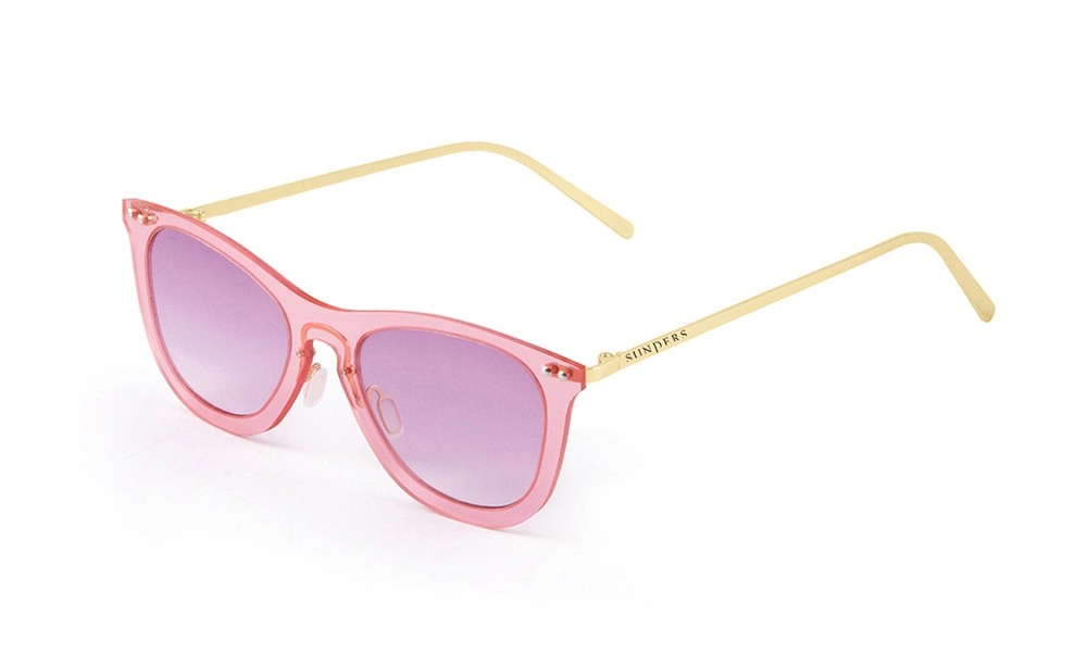 Sunglasses - transparent pink/ metal gold temple | SUNPERS