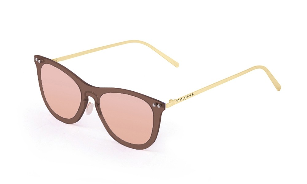 Sunglasses - transparent brown/ metal gold temple | SUNPERS