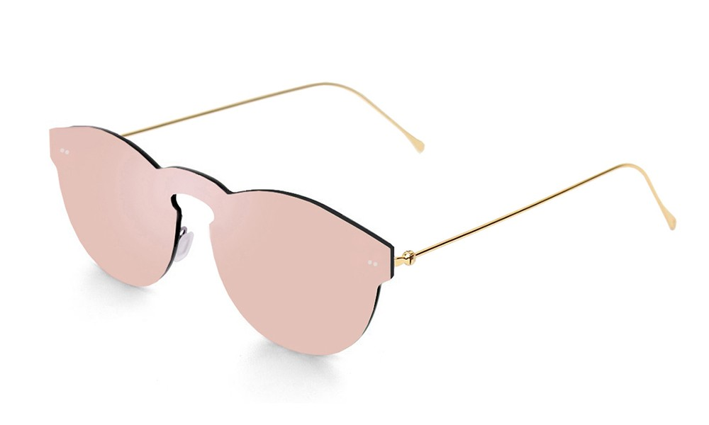 Gafas de sol SUNPERS modelo Biarritz lente plana montura dorada lente rosa espacial