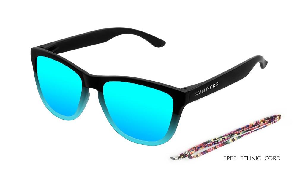 San Francisco - Clásica / negro mate - azul inferior / azul cielo espejo (gafas)