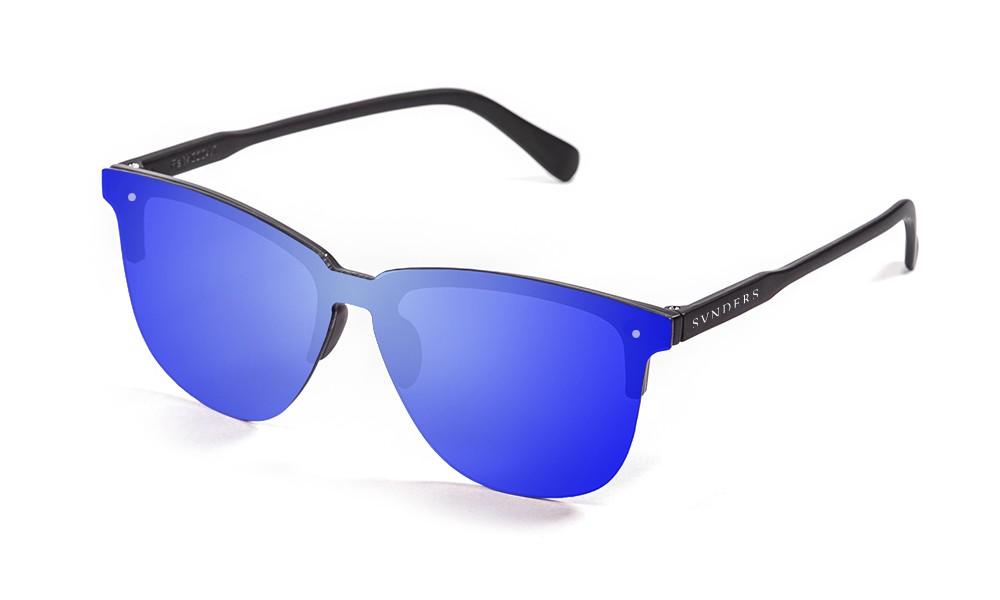 San Francisco - Lente plana clubmaster / revo / negro mate / azul (gafas