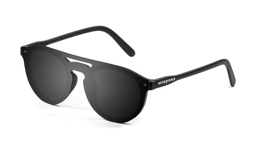 gafas de sol SUNPERS modelo biarritz lente plana doble puente montura policarbonato lente negra montura negro mate frontal